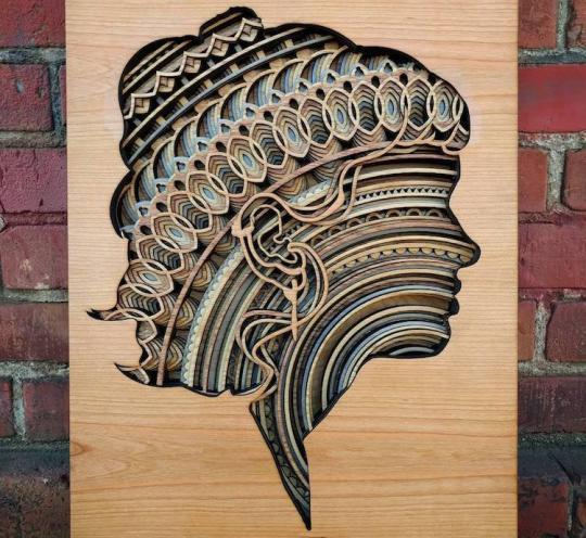 Декоративное панно – скульптура из фанеры «Женская голова»