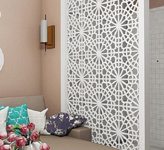 Воздушная белоснежная ширма для жилого помещения