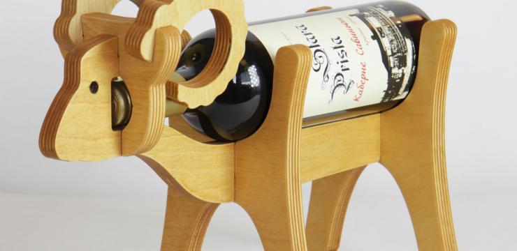 Подставка – держатель Баран деревянная для бутылки вина