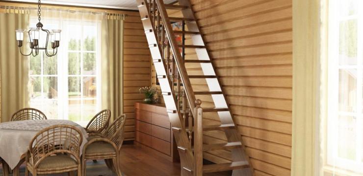 Шикарная маршевая лестница – оптимальный вариант для просторного помещения