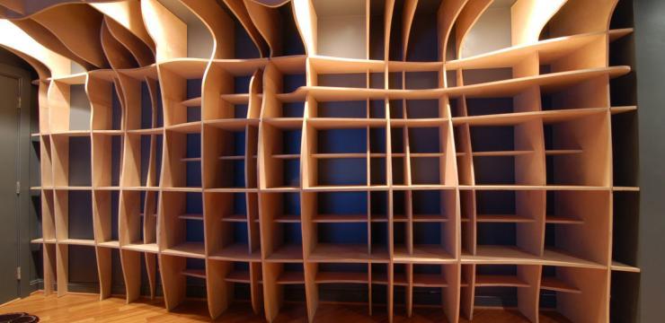 Шикарный шкаф-стеллаж на всю стену