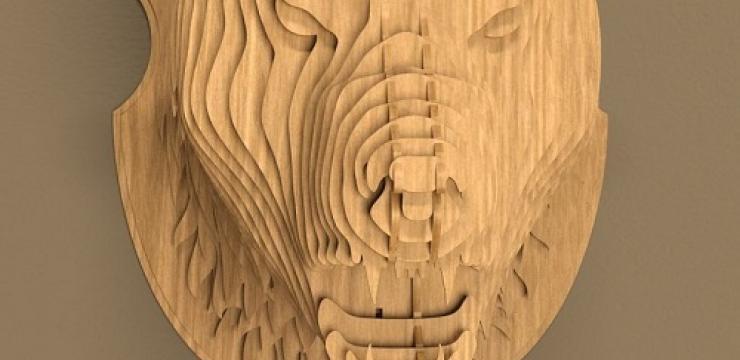 Объемная фигура из дерева Голова Тигра