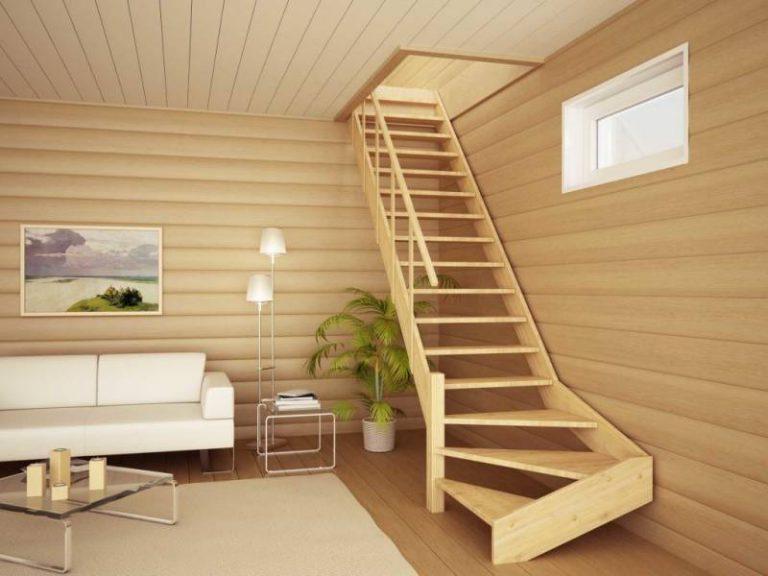 Стильная деревянная лестница для частного дома
